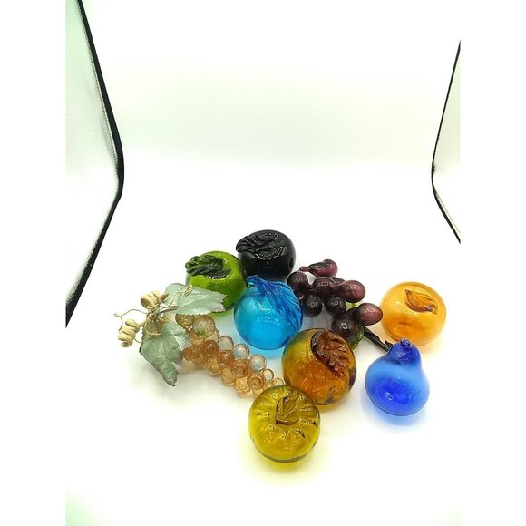 Vintage MCM Handblown Colored Glass Eight Fruit